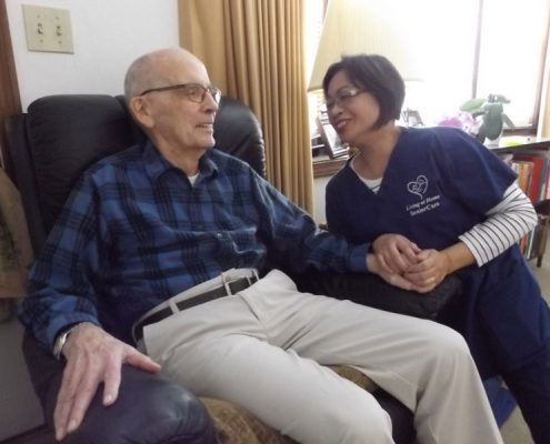 Elderly client with caregiver